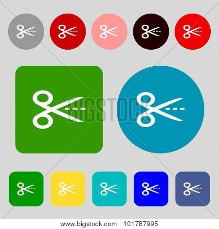 Scissors With Cut Dash Dotted Line Sign Icon. Tailor Symbol. 12 Colored Buttons. Flat Design. Vector