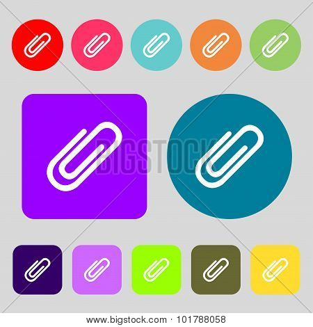 Paper Clip Sign Icon. Clip Symbol. 12 Colored Buttons. Flat Design. Vector