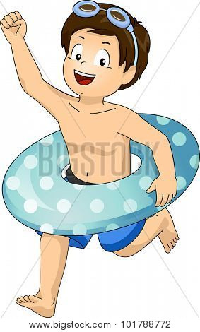 Illustration of a Little Boy with a Floater Around His Waist Running Excitedly