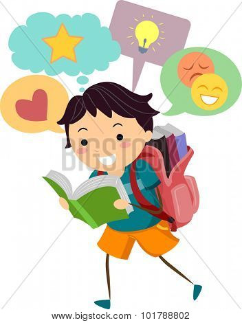 Illustration of a Little Boy With Speech Bubbles Appearing on Top of His Head While He Reads
