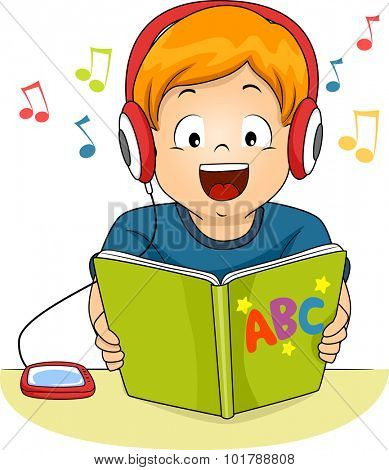 Illustration of a Little Boy Reading a Storybook While Listening to an Audio File
