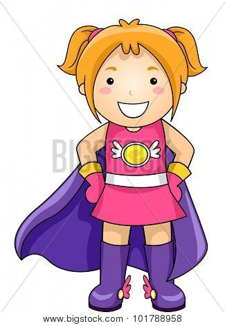 Illustration of a Little Girl Wearing a Superhero Costume Complete with a Cape