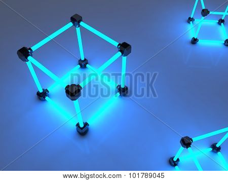 Glowing cubes of fluorescent tubes. Abstract composition of geometric processing facilities.