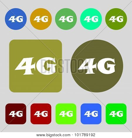 4G Sign Icon. Mobile Telecommunications Technology Symbol. 12 Colored Buttons. Flat Design. Vector