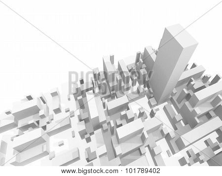 Abstract Schematic White 3D Cityscape Render
