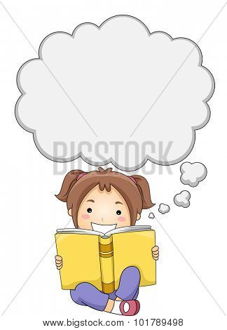 Illustration of a Little Girl Reading a Book While Thought Bubbles Appear Above Her Head