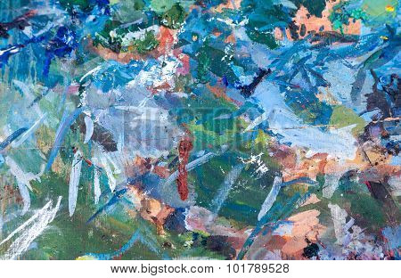 Abstract Background Of Oil Smeared Paint On An Artist's Palette