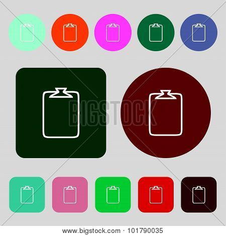 File Annex Icon. Paper Clip Symbol. Attach Sign. 12 Colored Buttons. Flat Design. Vector