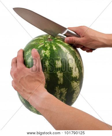 Water-melon is knifed on a white in a section the isolated