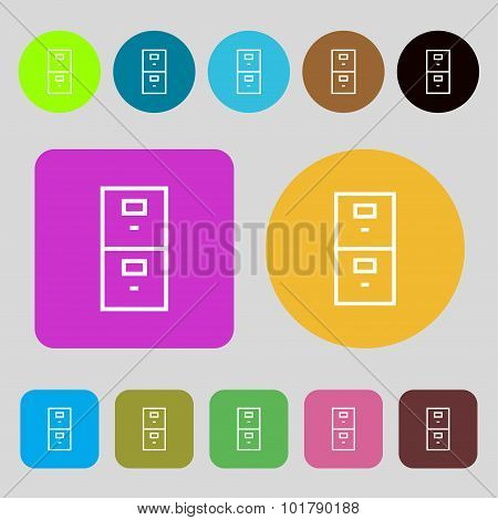 Safe Sign Icon. Deposit Lock Symbol. 12 Colored Buttons. Flat Design. Vector