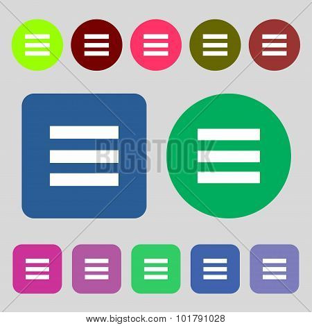 Align Text To The Width Icon Sign. 12 Colored Buttons. Flat Design. Vector
