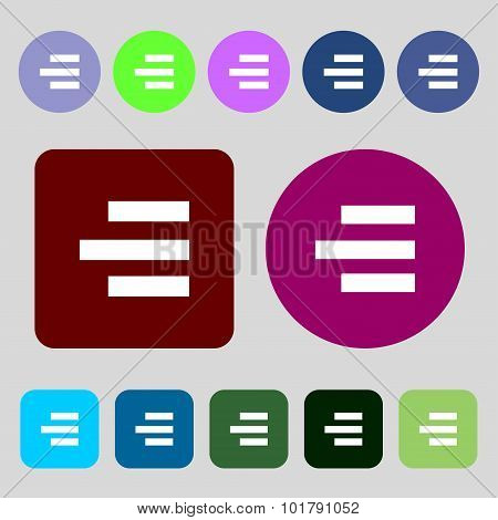 Right-aligned Icon Sign. 12 Colored Buttons. Flat Design. Vector