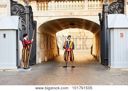 Vatican City, Vatican - October 29: Members Of The Pontifical Swiss Guard Protect Entrance To Vatica
