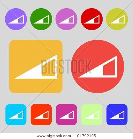 Speaker Volume Icon Sign. 12 Colored Buttons. Flat Design. Vector