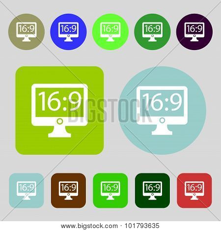 Aspect Ratio 16 9 Widescreen Tv Icon Sign. 12 Colored Buttons. Flat Design. Vector
