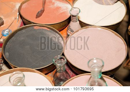 Multicolored Sand For Traditional Souvenirs in Jordan