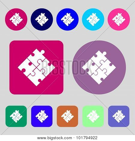 Puzzle Piece Icon Sign. 12 Colored Buttons. Flat Design. Vector