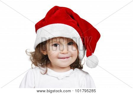 Funny Child Dressed Santa Hat, Isolated On White