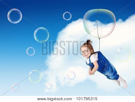 Funny Kid Fly On Soap Bubble, Flight Creative Concept