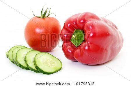 Cucumber, Tomato And Pepper.