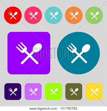 Fork And Spoon Crosswise, Cutlery, Eat Icon Sign. 12 Colored Buttons. Flat Design. Vector