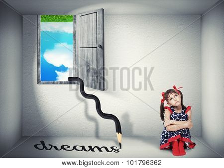 Surreal Dream Concept, Child In The Upside Down Room