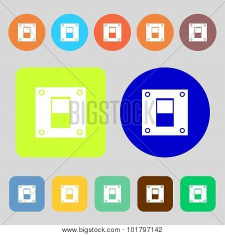 Power Switch Icon Sign. 12 Colored Buttons. Flat Design. Vector