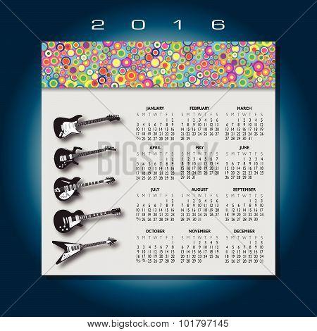 2016 guitar music calendar