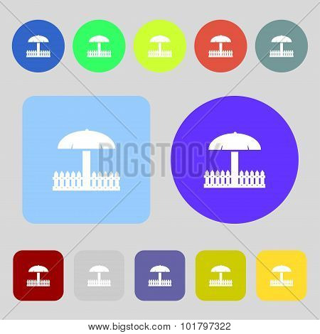 Sandbox Icon Sign. 12 Colored Buttons. Flat Design. Vector