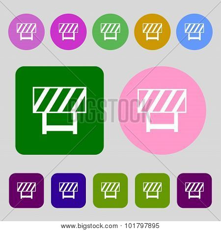 Road Barrier Icon Sign. 12 Colored Buttons. Flat Design. Vector