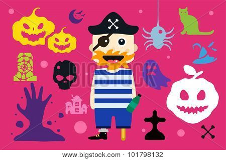 Monster pirate captain cartoon characters isolated vector silhouette. Cartoon monsters, pirate mascot flat. Halloween costume character,halloween mascot. Monster kids costume, pirate cartoon character