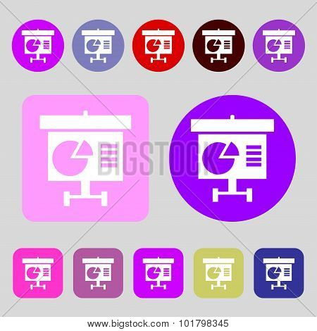 Graph Icon Sign. 12 Colored Buttons. Flat Design. Vector