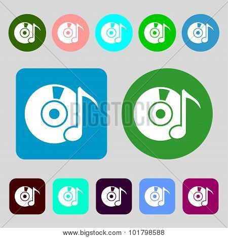 Cd Or Dvd Icon Sign. 12 Colored Buttons. Flat Design. Vector