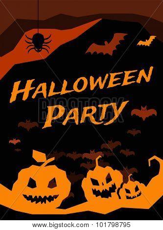 Halloween vector background. Pumpkin head, zombie hand,  Halloween symbols. Halloween silhouette for Halloween party flyer invite card design. Halloween night background, ghost, black cat, zombie
