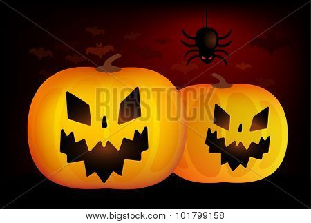 Two vector Halloween pumpkins head isolated on black background. Halloween party vector pumpkin. Pumpkin head, Halloween symbols. Halloween pumpkin silhouette for Halloween design. Halloween background