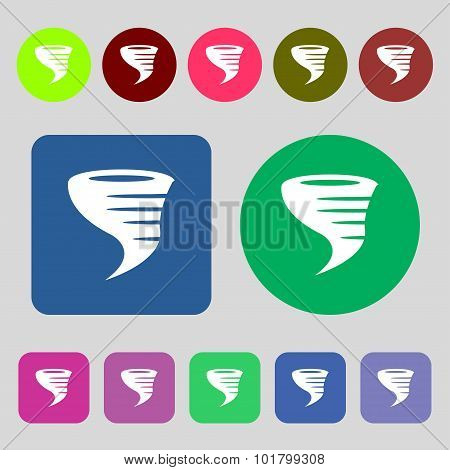 Tornado Icon. 12 Colored Buttons. Flat Design. Vector