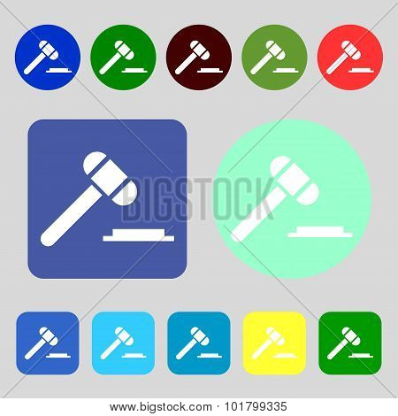 Judge Hammer Icon. 12 Colored Buttons. Flat Design. Vector