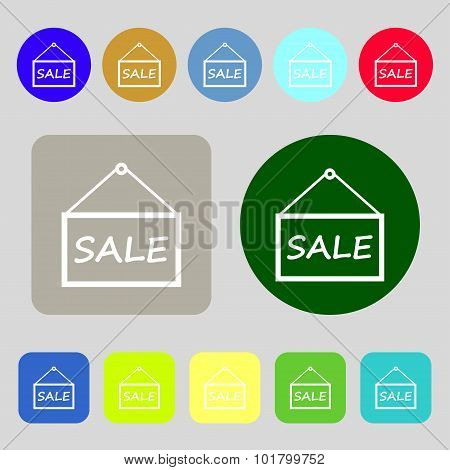 Sale Tag Icon Sign. 12 Colored Buttons. Flat Design. Vector