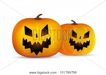 Two vector Halloween pumpkins head isolated on white background. Halloween party vector pumpkin. Pumpkin head, Halloween symbols. Halloween pumpkin silhouette for Halloween design. Halloween