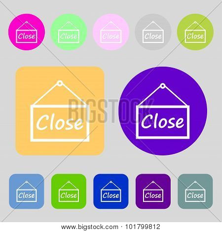 Close Icon Sign. 12 Colored Buttons. Flat Design. Vector