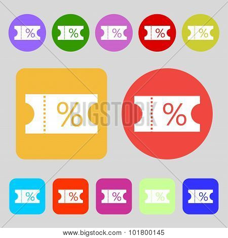 Ticket Discount Icon Sign. 12 Colored Buttons. Flat Design. Vector