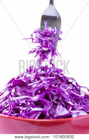 Fork And Bowl With Raw Red Cabbage