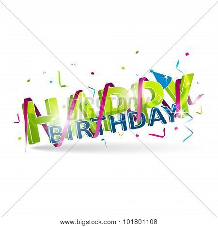 Happy birthday title with spiral ribbon isolated on a white background