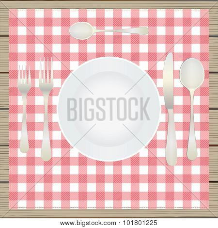 Table Setting, Etiquette. Plate, Fork, Spoon, Knife, Table-napkin, Wooden Table. Top View.