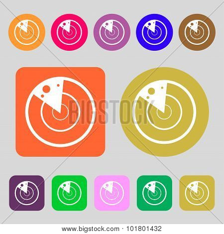 Radar Icon Sign. 12 Colored Buttons. Flat Design. Vector