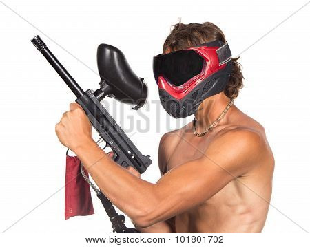 Powerful Man In Red Paintball Mask With Marker Isolated