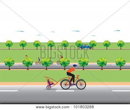 Father Biking With Little Son.