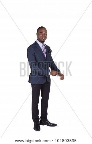 Portrait of a handsome teenager wearing a suit isolated on white