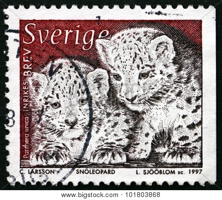 Postage Stamp Sweden 1997 Snow Leopard