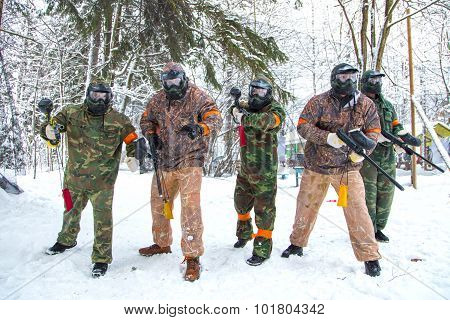 Paintball Team Is Ready To Start Mission